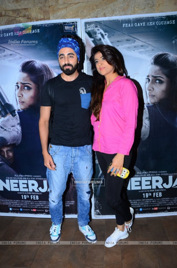 Ayushmann Khurrana with wife at Special Screening of 'Neerja'