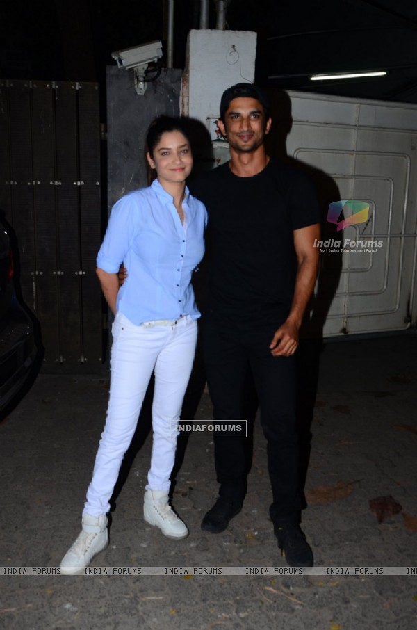 Sushant Singh Rajput and Ankita Lokhande at Aligarh Film Screening