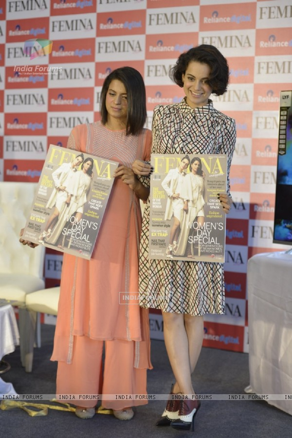 Kangana Ranaut launches Femina  Magazine Cover with her Sister Rangoli