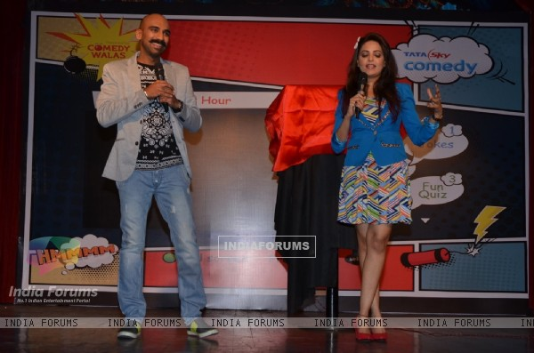 Comedian Sahil Khattar and Sugandha  Mishra at Tata Sky's Comedy Channel Launch