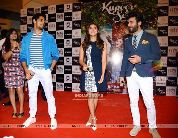 Sidharth Malhotra, Alia Bhatt and Fawad Khan for Kapoor & Sons Promotions in Delhi