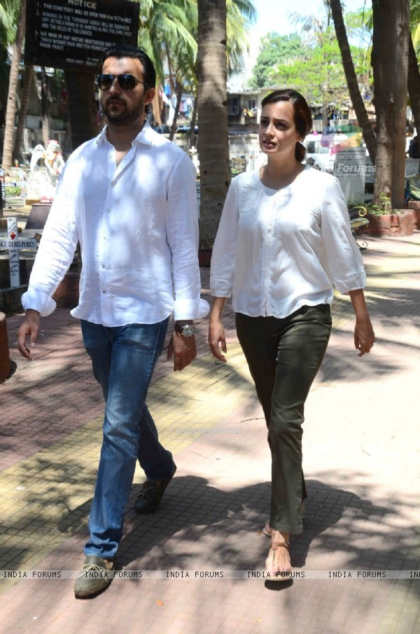 Actress Dia Mirza with her husband Sahil Sangha attends Emraan Hashmi's Mothers Funeral