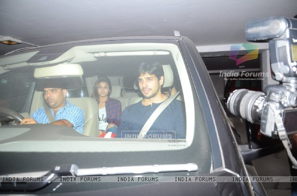 Sidharth Malhotra and Alia Bhatt were snapped at Hiroo Johar's Birthday Bash