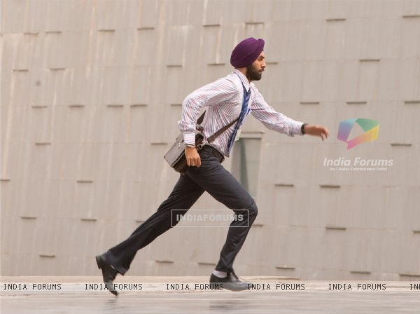 Ranbir Kapoor looking in hurry