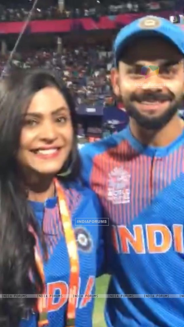 Anuja Sathe with Virat Kohli at ICC T20 World Cup