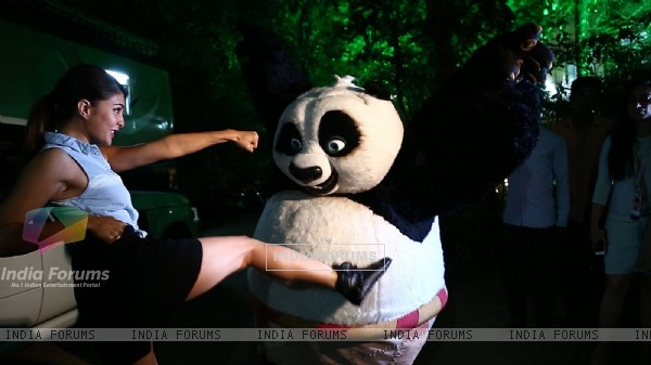 Jacqueline Fernandes In action with Kung Fu Panda's PO