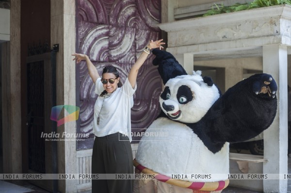 Neha Dhupia in action with Kung Fu Panda's PO