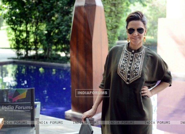 Neha Dhupia in her sizzlinhg avatar at Press Meet of 'Santa Banta Pvt. Ltd.'