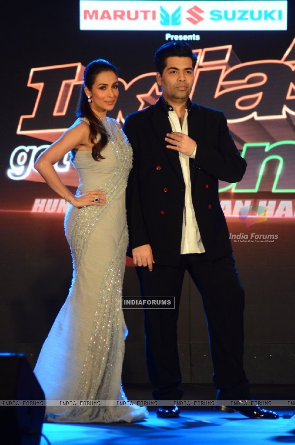 Karan Johar and Malaika Arora Khan at the Launch Of the show 'India's Got Talent'