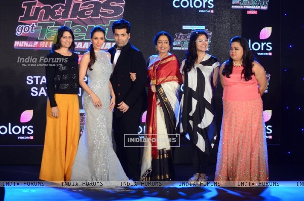 Malaika Arora Khan, Karan Johar, Bharti Singh and Kirron Kher at the Launch Of the show 'India's Got