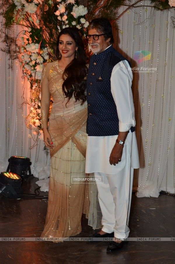 Amitabh Bachchan and Tabu at Karan - Bipasha's Star Studded Wedding Reception