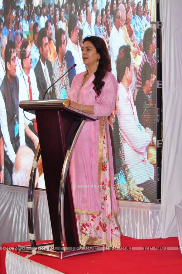 Juhi Chawla gives her speech during her visit at 'Cooper' Hospital