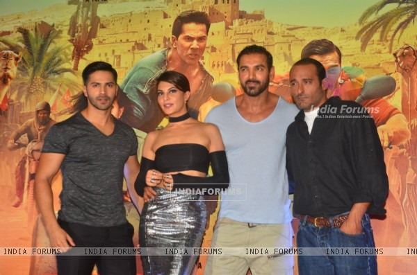 Varun Dhawan, Jacqueline Fernandes, John Abraham & Akshaye Khanna at Trailer Launch of 'DISHOOM'
