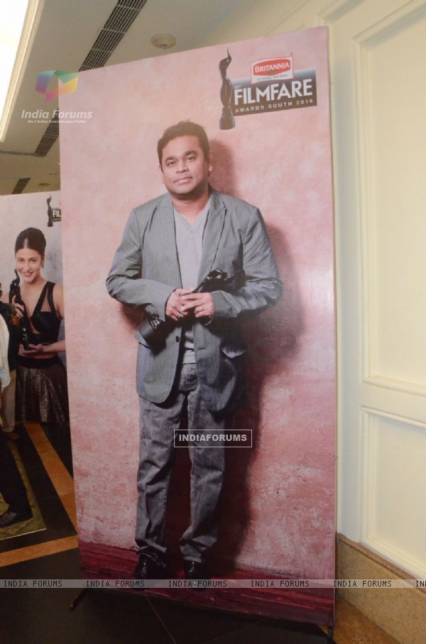 A. R Rahman's Standee displayed at Press Meet of South Filmfare Awards 2016