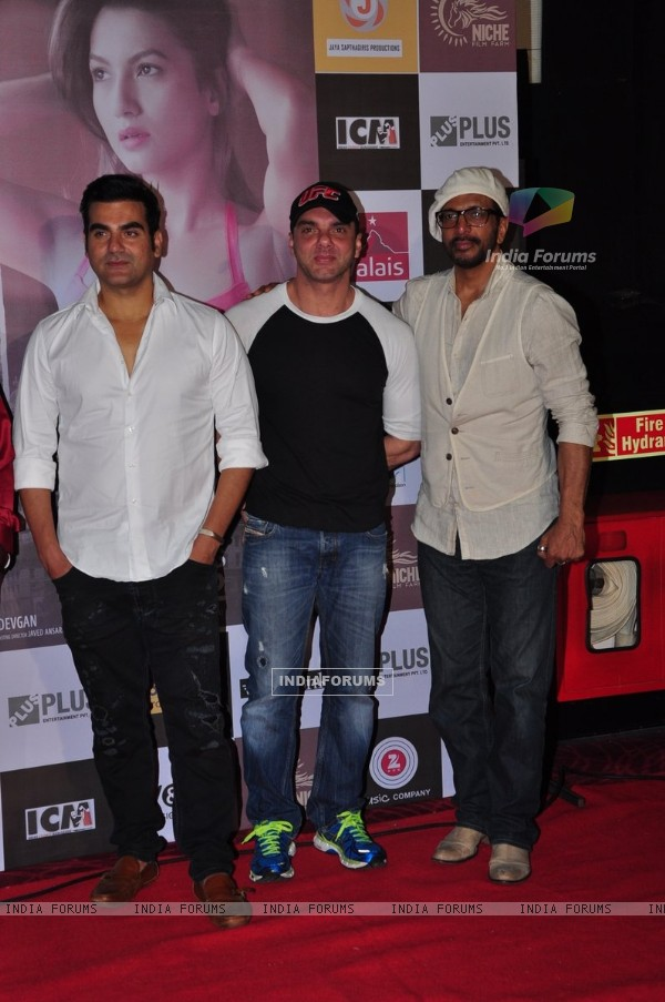 Arbaaz Khan, Sohail Khan and Javed Jaffrey at Trailer Launch of film 'Fever'
