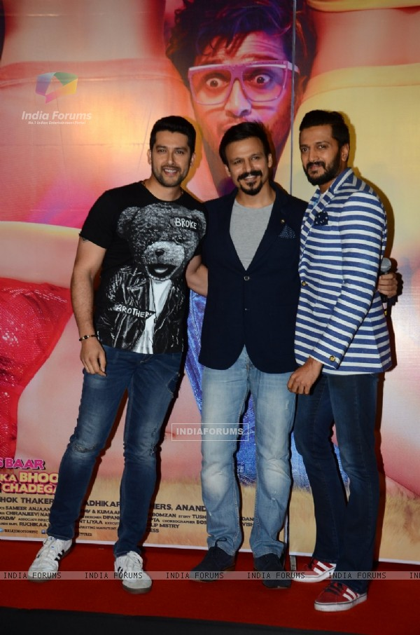 Vivek Oberoi, Riteish Deshmukh and Aftab Shivdasani at Trailer Launch of 'Great Grand Masti'