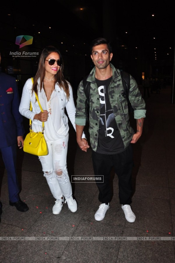 Karan Singh Grover and Bipasha Basu at Airport