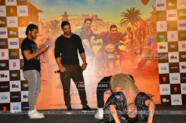 Celebs Varun and john at the promotion of 'Dishoom'