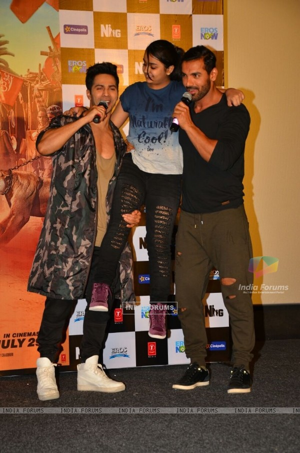 Varun and John at the promotion of 'Dishoom'