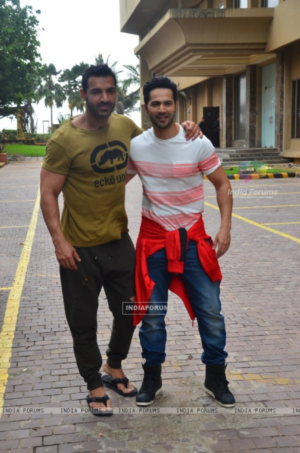 John Abraham and Varun Dhawan at Promotes 'Dishoom'