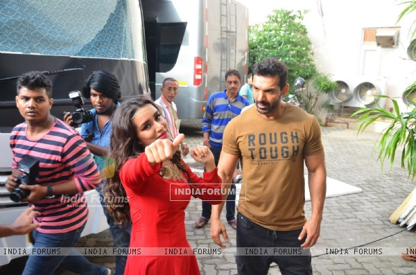 Shraddha Kapoor and John Abraham Snapped at 'Mehboob Studio'