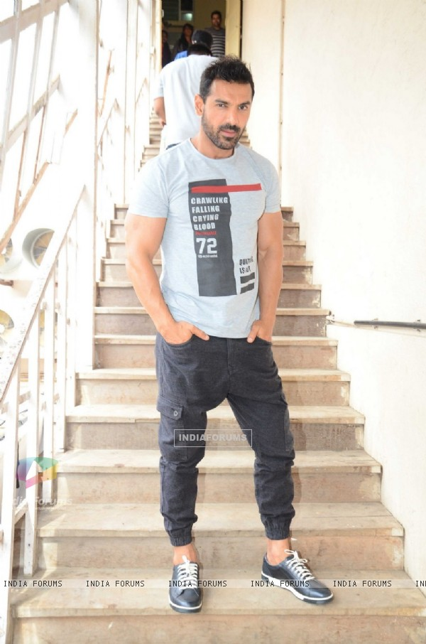 John Abraham Snapped promoting Dishoom at 'Mehboob Studio'