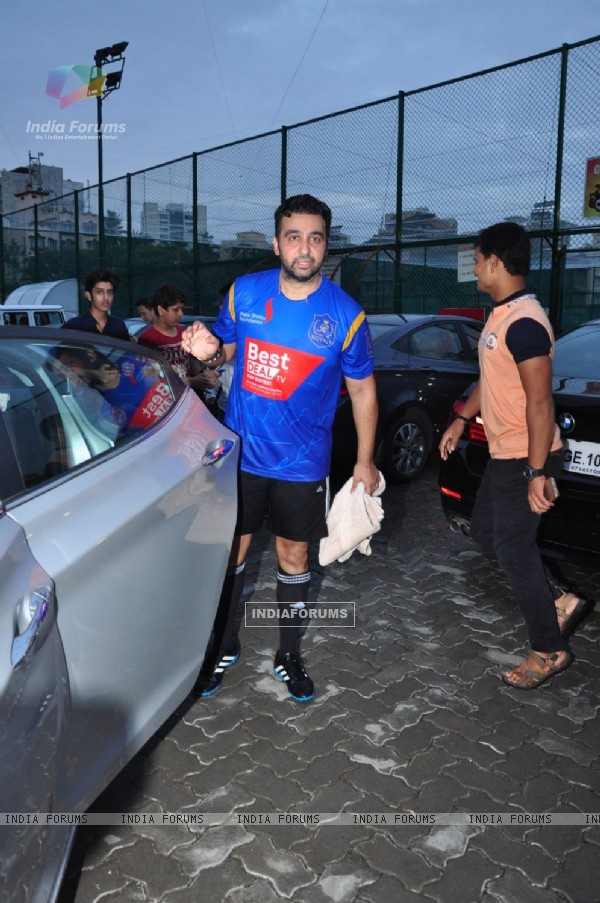 Raj Kundra snapped at soccer match