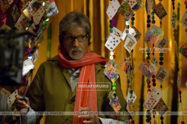 Amitabh Bachchan with playing cards