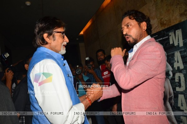 Superstar Amitabh Bachchan with Irrfan Khan at the special screening of Madaari