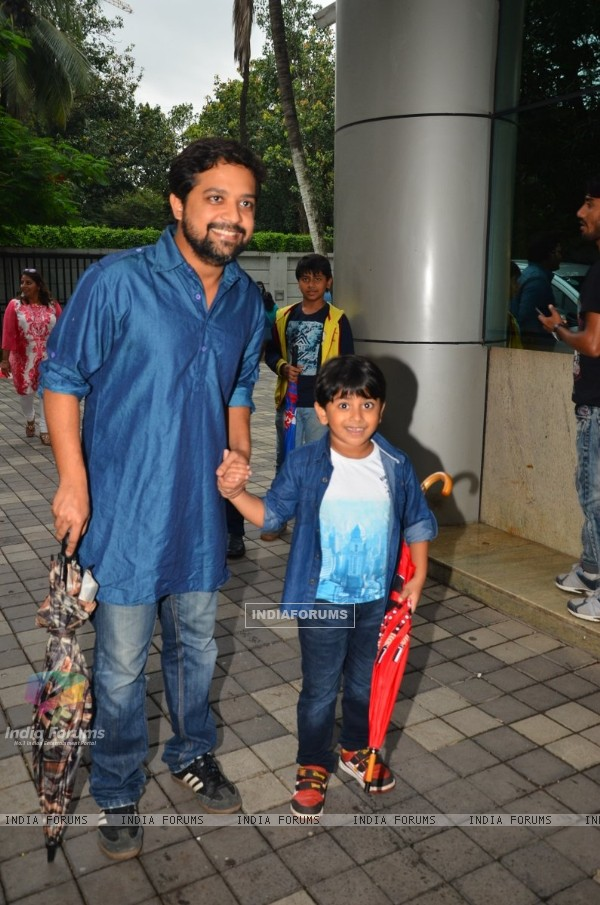 Actor Anand Tiwari and child actor Kabir Sajid at Press meet of 'Sex Chat with Pappu and Papa'