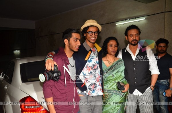 Irrfan Khan with his wife and son at the special screening of 'Madaari'