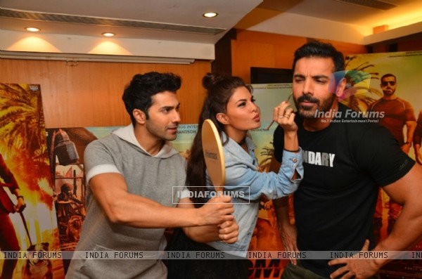 Make up time: Jacqueline becomes make up artist for John at Promotions of Dishoom!