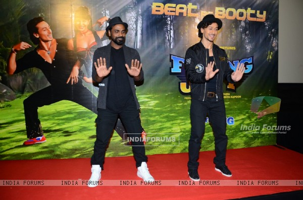 Tiger Shroff and Remo Dsouza performing at Song launch of 'A Flying Jatt'