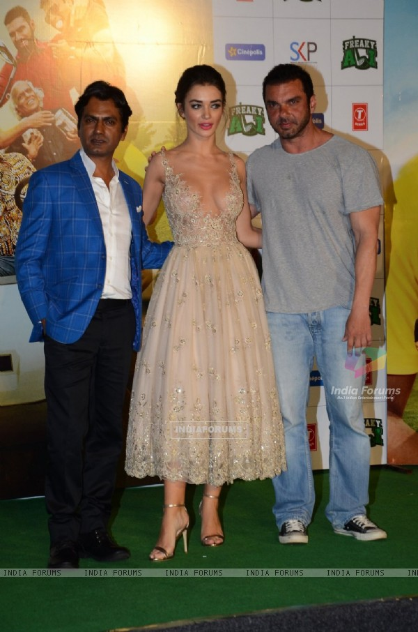 Amy Jackson, Sohail Khan and Nawazuddin Siddiqui at Trailer launch of 'Freaky Ali'