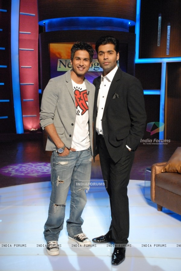 Shahid Kapoor with Karan Johar on Lift Kara De
