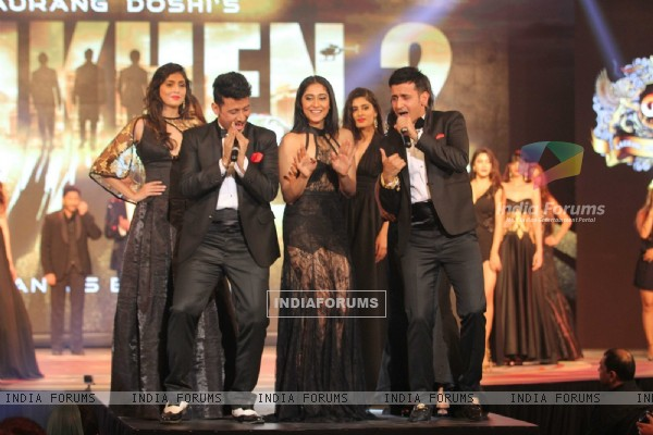 Regina Cassandra with Meet Bros at Launch of Film 'Aankhen 2'