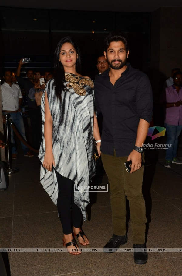 Allu Arjun with his wife Sneha Reddy at Chiranjeevi's 61st Birthday Bash