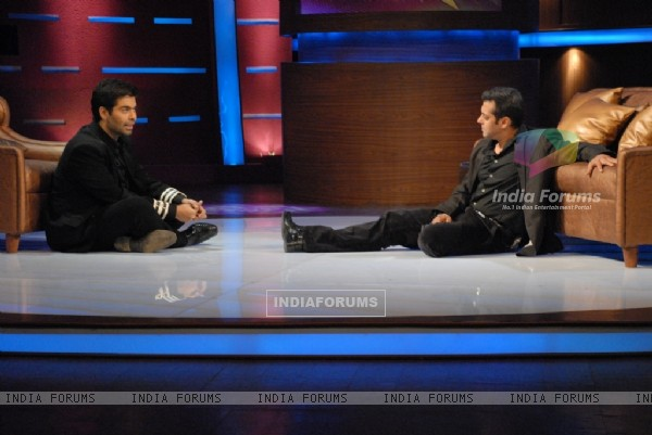 Karan Johar and Salman Khan in tv show Lift Kara De