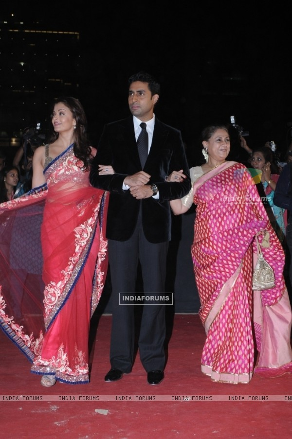 Abhishek Bachchan with wife Aishwarya and mother Jaya