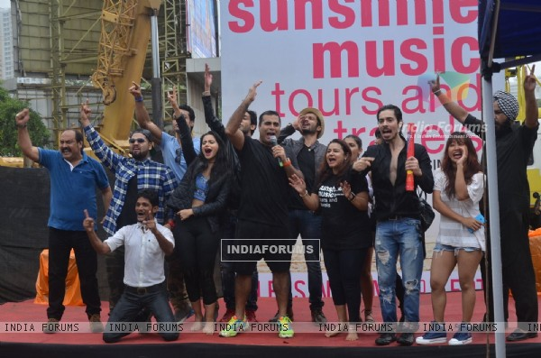 Shailendra Singh and Ashrut Jain at Promotion of 'Sunshine Music Tours and Travels'