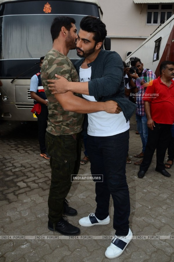 John Abraham and Arjun Kapoor snapped at Mehboob Studio