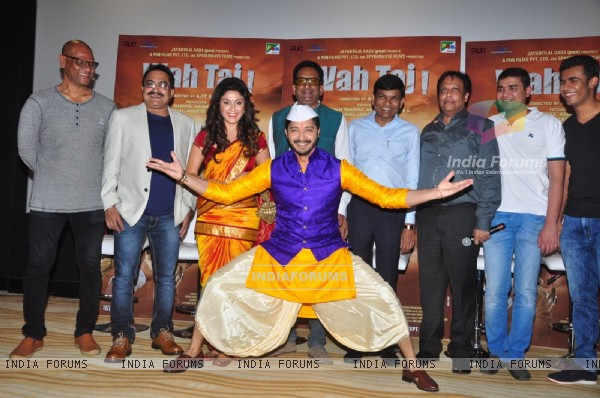 Manjari Fadnis, Shreyas Talpade and Hemant Pandey at Trailer launch of Film 'Wah Taj'