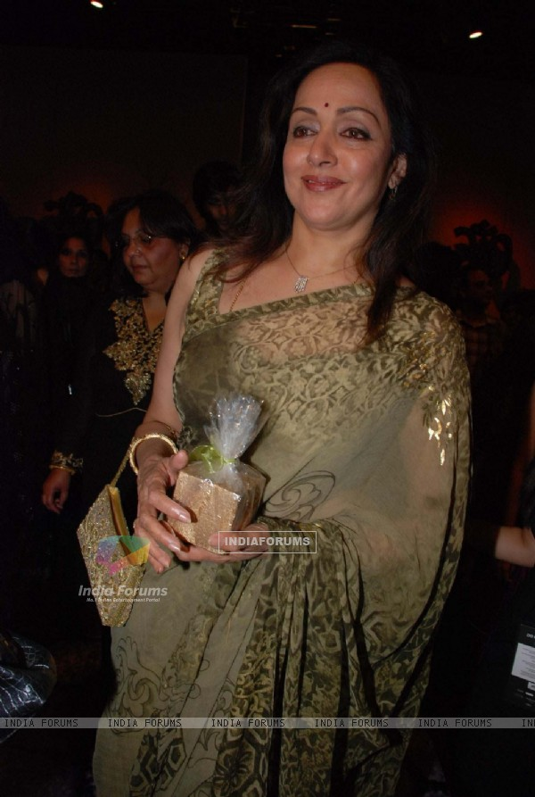 Bollywood actress Hema Malini at the launch of Neeta Lulla''s collection at the Lakme Fashion Week in Mumbai