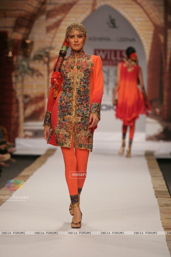 A model display the collection of Ashima Leena at Lakme Fashion Week in Mumbai