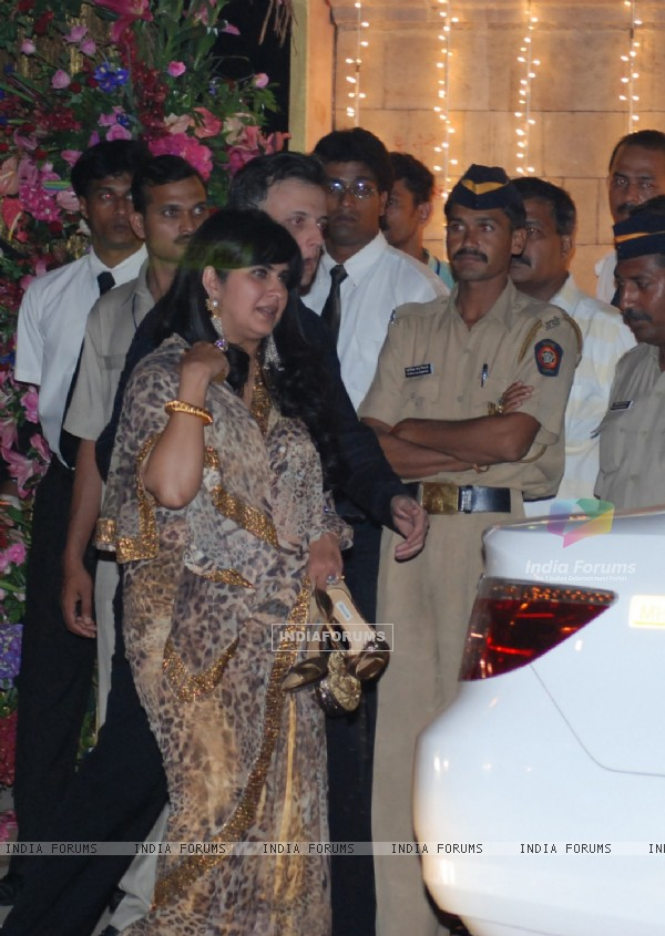 Celebrities arriving at the Aishwarya Rai & Abhishek Bachchan wedding sangeet ceremony