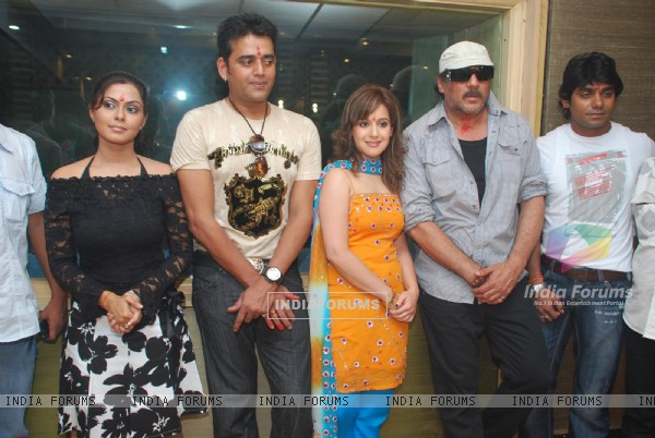 "Jackie Shroff with Ravi Kissan in Bhojpuri film ""Balidan - mahurat at soundcity"" at Sound City"