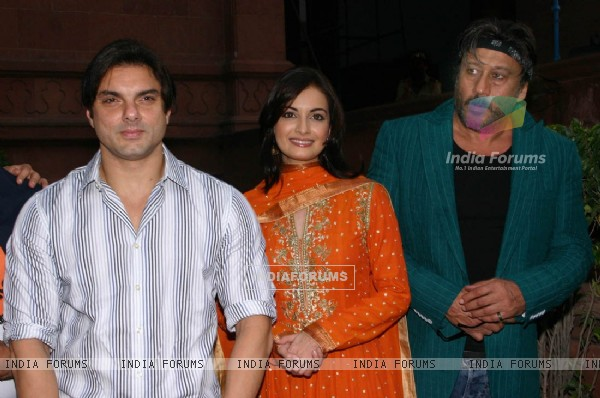 "Sohail Khan, Dia Mirza and Jacky Shroff at a press-meet for the Film ""Kissan"" in New Delhi on Wednesday"