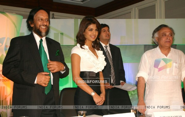 Union Minister for environment and forests bollywood actor Priyanka Chopra, DG,Teri and Dr R K Pachauri at a press-meet for the NDTV second wave of '''' Green Campaign'''' which includes the programme '''' Greenathon'''', in New Delhi on Tuesday