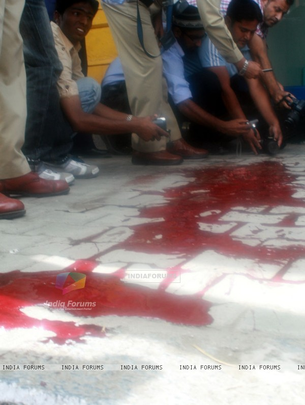 Blood stains at the shootout site in Srinagar