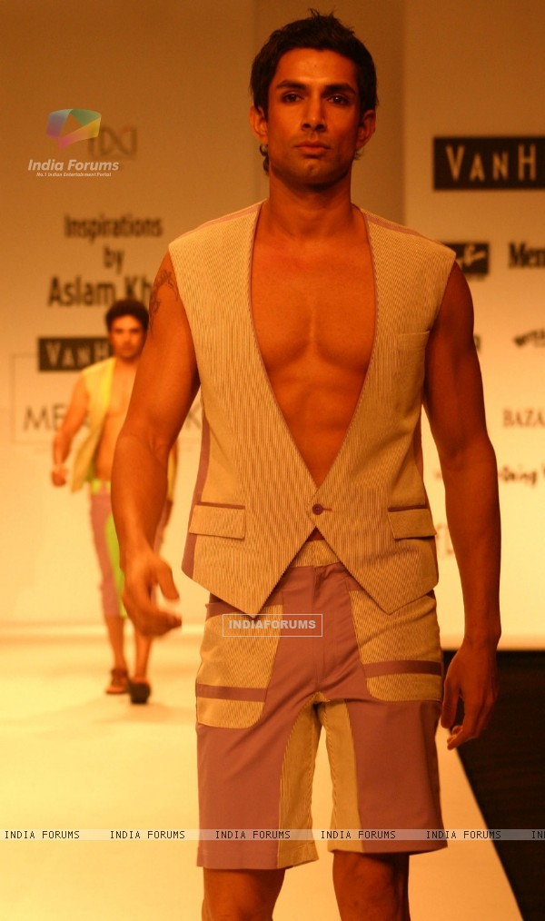 Model on the ramp for Designer Aslam Khan at India Mens Week at New Delhi